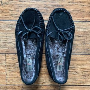 Black Lined Moccasin Slippers